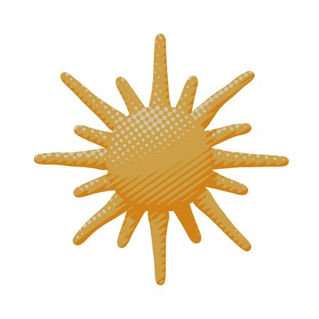 Isolated vector illustration of hot bright orange sun. Flat sky poster of warm sunshine and heat sunlight with air concept of sunny ray in sunset as nature idea or icon for print art.