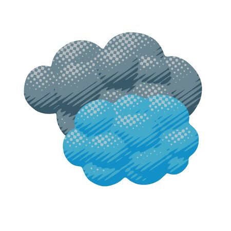 Isolated vector illustration of blue and gray color cloudy overcast day in spring or autumn. Flat forecast poster of fluffy clouds with halftone lines in nature object or sign for meteo art print.