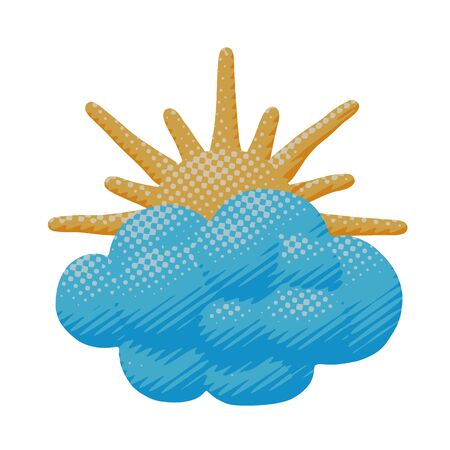 Comic vector illustration of morning orange sun with warm light through cloud. Flat forecast pop art of sunlight from cloudy sunrise with environment concept in paper cut element or sign for web art.