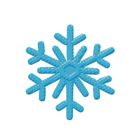 Comic vector illustration of crystal ice snowflake. Flat weather pop art of cold winter flake in december for christmas celebration with climate concept in paper cut element or sign for web graphic.