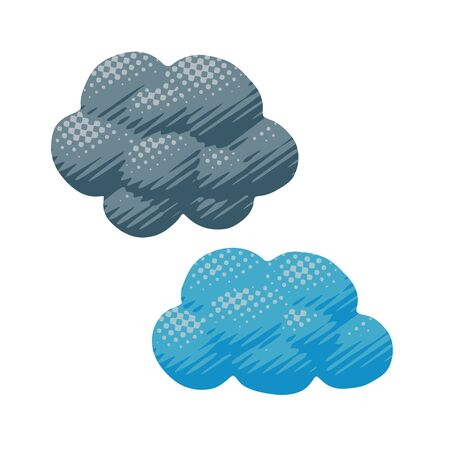 Comic vector design of gray and blue cumulus clouds in spring or summer. Flat weather pop art of cloud shape for heaven illustration with air bubble concept in season idea or symbol for art graphic.