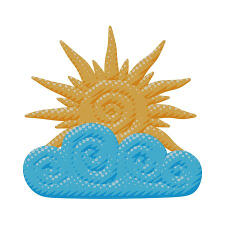 Isolated vector illustration of warm yellow sun rays in curly blue cloud. Flat forecast poster of sunny day or spring sunshine energy with meteorology pattern in season object or icon for web graphic.