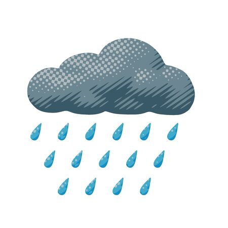 Isolated vector illustration of rainy gray cloud during thunderstorm. Cartoon weather poster of drops fall from overcast cloud with climate pattern in nature element or symbol for art print.  イラスト・ベクター素材
