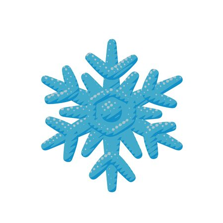 Isolated vector design of ice winter snowflake in freeze crystal shape. Flat weather pop art of snow flake for frost xmas celebration with meteorology pattern in season object or sign for web graphic.