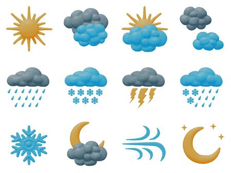 Isolated vector design of weather icons collection. Cartoon forecast pop art set of cloud, rain, storm, snow, sun, moon and lightning. Climate concept in season object or symbol for print graphic.