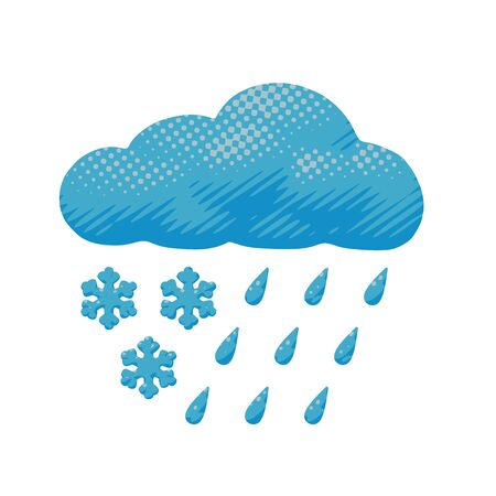 Comic vector design of sleet - rain and snow dropped from blue cloud. Cartoon forecast poster of cloudy and rainy slush cyclone with meteorology concept in paper cut object or sign for print art.