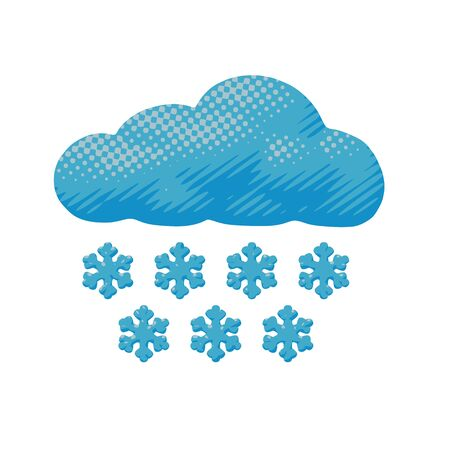 Isolated vector design of snowy cloud with blue snowflakes. Flat sky pop art of cloudy winter and stormy snowfall with environment pattern in paper cut idea or cutout for web art for meteorology. Illustration