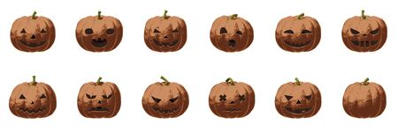 Pumpkin smile set for Halloween scary and spooky autumn vector illustration in heavy metal bronze style. Isolated element of metallic shiny food for holiday greeting card with horror art for poster.