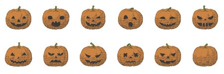 Pumpkin smile hand drawn set for Halloween, fun and creepy autumn vector hatching illustration. Isolated sketch design of grinning for holiday greeting card with fear stroke sign for poster.