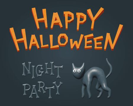 Vector illustration for night party with black spooky cat and greeting Happy Halloween text. Celebration poster with isolated toy kitty character for autumn event party. Plastic model of scary cat.