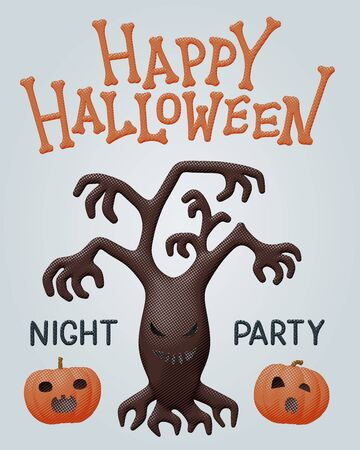 Halloween cartoon flat vector illustration of haunted brown tree for happy night party with dark evil plant, but funny and orange pumpkins. Celebration flyer with creative pattern for october design. Stock Illustratie