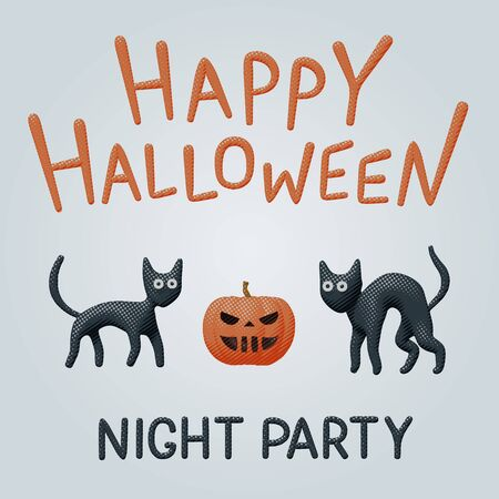 Halloween comic vector pop art for happy night party with dark creepy kitten, fun and cute orange pumpkin. Illustration of two dark cats. Celebration invitation with cutout character for autumn banner