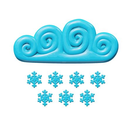 Forecast vector illustration of graphic design for climate - plastic snowfall storm. Realistic isolated figure of snowy blue cloud for meteorology. Beautiful symbol of cold cloudy winter environment.  イラスト・ベクター素材