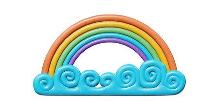 Sky vector illustration of graphic design for climate - colorful 3d rainbow in bright blue summer cloud. Realistic isolated model of happy and shiny spectrum. Creative object or icon of rainbow in air  イラスト・ベクター素材