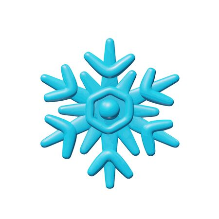 Sky vector illustration of web for season - plastic cold snowflake. Realistic isolated winter toy of blue ice crystal shape. Beautiful art or sign of snow flake for Christmas celebration.