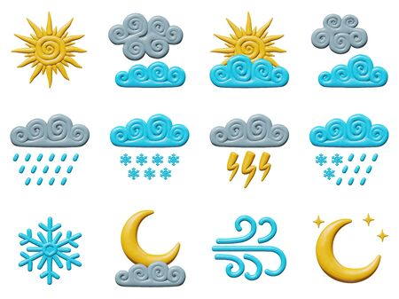 Forecast vector illustration of graphic design for climate. Plastic weather set - clouds, rain, snow, storm. Smooth isolated models of sun and moon. Decorative concept or sign of thunder in skies.