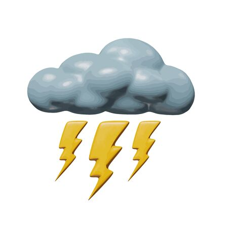 Forecast vector illustration of element for season - plastic lightning bolt. Smooth isolated model of thunderbolt or thunderstorm. Decorative idea or icon of lightning storm in stormy sky air.