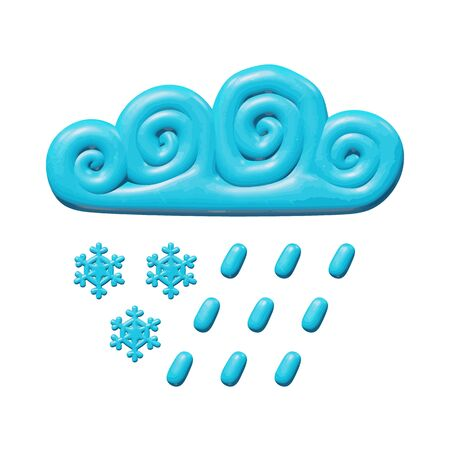 Sky vector illustration of web for nature - 3d sleet from curly blue cloud. Glossy isolated figure of rain and snowflakes. Creative idea or symbol of slush or cyclone in cloudscape atmosphere.