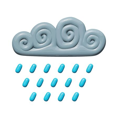 Weather vector illustration of element for nature - plastic rain from rainy gray cloud. Realistic isolated sculpture of water drops from cloudy overcast. Decorative art or sign of rain in air.