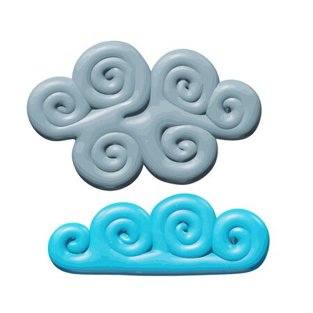 Forecast vector illustration of graphic design for season - plastic spring or autumn fluffy cloudscape. Smooth isolated model of cloudy weather. Creative concept or symbol of blue and gray air clouds.