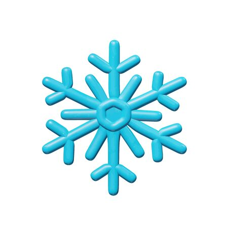 Weather vector illustration of graphic design for climate - 3d snowflake for Christmas celebration. Smooth isolated figure of cold ice crystal flake. Decorative snow idea or sign of December frost.