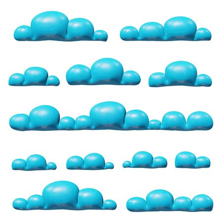 Overcast sky vector illustration of element for season - plastic collection of blue fluffy clouds. Smooth isolated toy of cumulus cloudscape. Creative concept or icon of air panorama or heaven set.