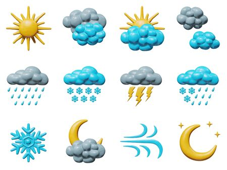 Forecast vector illustration of element for meteorology - plastic weather collection. Smooth isolated toys - sun, moon, clouds, rain, snow fall. Beautiful concept of overcast icons in skies. Illustration