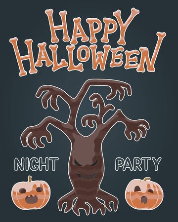 Happy Halloween night party flyer - bright jelly isolated vector illustration of scary brown tree plant and spooky pumpkin. Autumn black design for spooky holiday greeting. Halloween horror greeting. Çizim