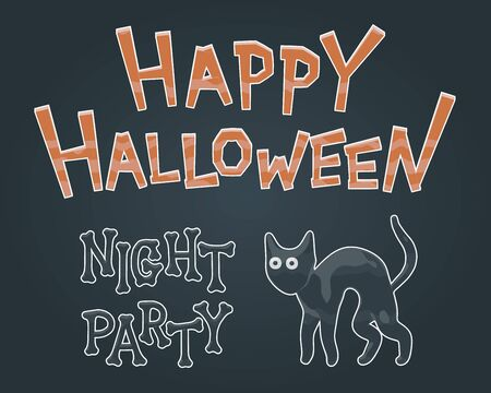 Happy Halloween night party banner - smooth glass isolated vector illustration of cute black cat and spooky text. October dark graphic for evil holiday invitation. Halloween fear, funny kitty.