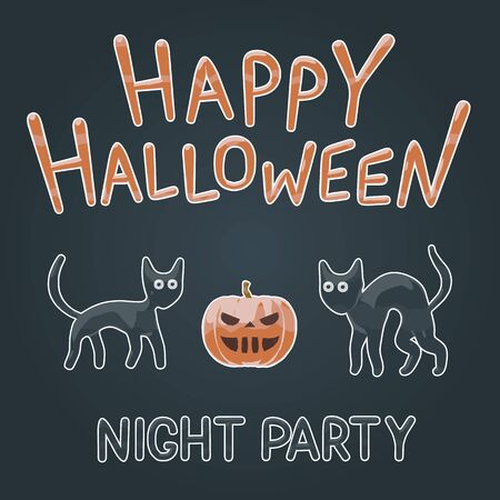 Happy Halloween night party poster - shiny aqua cutout vector illustration of funny kitten and orange pumpkin. October dark graphic for scary holiday celebration. Halloween fun, cute black cats.  イラスト・ベクター素材