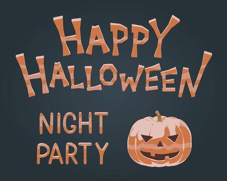 Happy Halloween night party banner - cute water cutout vector illustration of spooky monster - orange pumpkin mascot. Autumn black design for creepy holiday greeting. Halloween pumpkin treats.