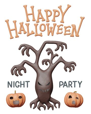 Clay illustration of scary tree and pumpkins for Halloween party. Handmade 3d shape element for happy Halloween, spooky holiday flyer. Isolated idea for creepy night party, cute october card.