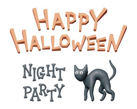 Plasticine vector illustration of cute kitty for Halloween party. Sculpting 3d material graphic for happy Halloween, scary black cat. Isolated concept for creepy night party, fun autumn invitation.