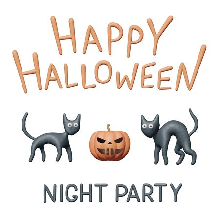 Clay vector illustration of orange pumpkin and cute kitten for Halloween party. Handmade 3d modeling graphic for happy Halloween, greeting flyer with black cats. Isolated art for creepy night party.