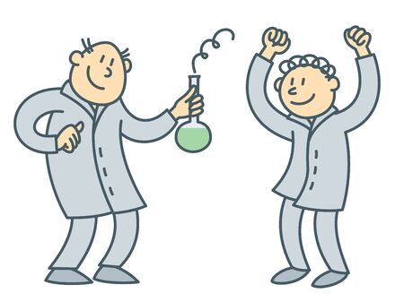 Cartoon scientist characters. Isolated vector illustration of chemical research laboratory. Outline drawing of researcher, professor of university. Flat people in college, chemistry or medicine man.