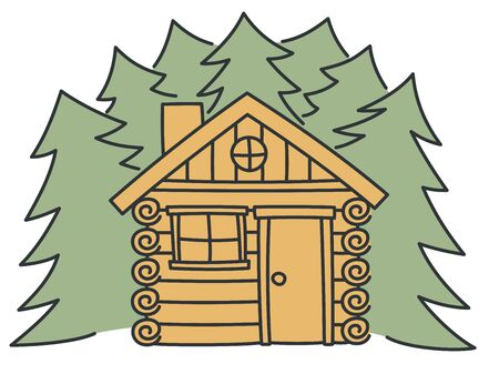 Log cabin - outline summer house in white background. Nature forest tree vector illustration. Outdoor landscape - brown wooden lodge in village or forest. Countryside architecture as travel symbol.