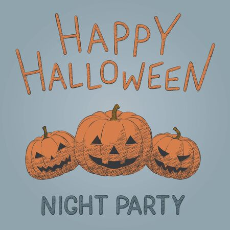 Hand drawn orange pumpkins vector illustration for Halloween party. Drawing spooky graphic for happy Halloween evil holiday design. Isolated hatching idea for horror night party, fun october poster.  イラスト・ベクター素材