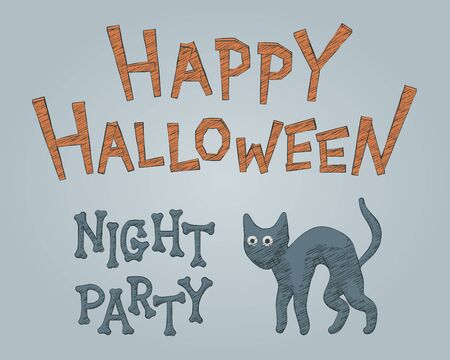 Sketch black feline vector illustration for Halloween party. Drawing graphic for happy Halloween evil celebration flyer. Isolated dark cat contour concept for scary night party, cute autumn poster.  イラスト・ベクター素材