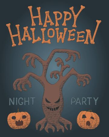 Hand drawn spooky tree vector illustration for Halloween party. Freehand pumpkin element for happy Halloween fear celebration design. Isolated hatching concept for spooky night party, october poster.