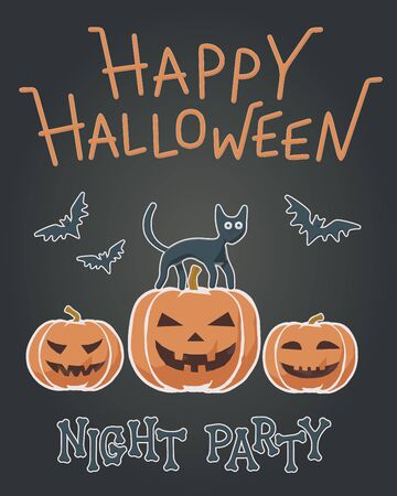 Simple flat vector illustration for Happy Halloween. Baby style for night party with creepy bats, cute cat and funny orange pumpkin. Greeting invitation with creative character for october graphic.  イラスト・ベクター素材
