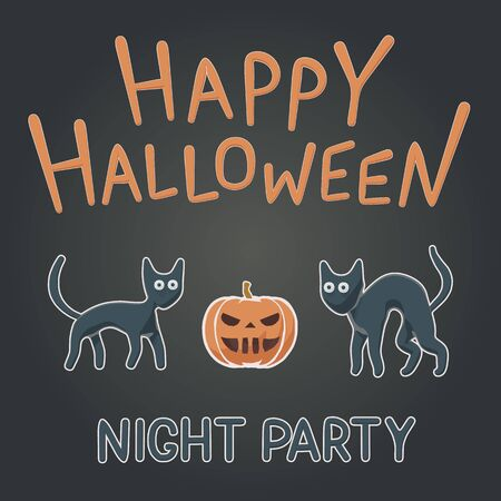 Toon flat vector illustration of funny animals for Happy Halloween. Children style for night party cute black cats and orange pumpkin. Celebration flyer with isolated object for october banner.