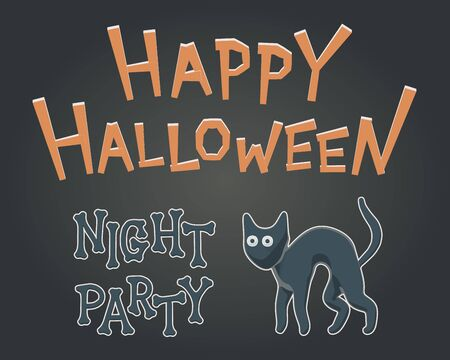 Toon flat vector illustration for Happy Halloween. Drawing style for night party with creepy, but cute kitty. Celebration invitation with isolated cat character for autumn banner. Happy feline party.  イラスト・ベクター素材