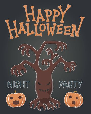 Toon flat vector illustration of plants for Happy Halloween. Drawing style for night party with spooky haunted tree and orange pumpkins. Greeting invitation with isolated character for october event.