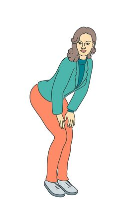 Drawn sexy adult female standing in a seductive pose. Cute young girl isolated vector illustration. Cartoon woman character. Attractive smiling person. Pretty slim lady in a jacket and fashion pants.  イラスト・ベクター素材