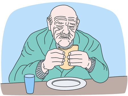 Vector illustration of eating meal old man. Elder adult male person sitting at the table with bread in hands. Wrinkled face of aged grandfather. Lifestyle outline drawing of retired grandpa in hospice  イラスト・ベクター素材