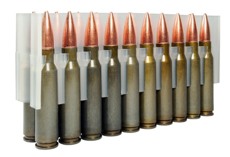 Hunting cartridges manufactured in Russia.  Bullet weight -168 gr , full metal jacket boat tail , non-corrosive , lacquered steel case Stock Photo