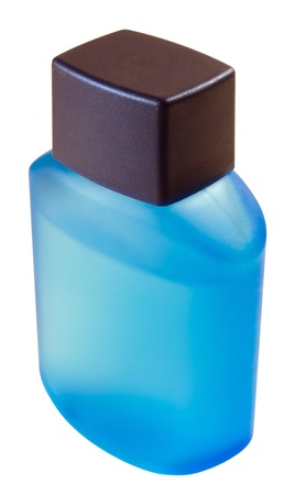 Vial with a male refreshing aftershave out of the blue frosted glass