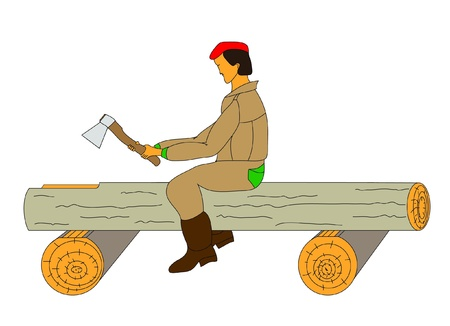Carpenter at work. Implementation of the rough tracks in the round log. Stock Vector - 9790833