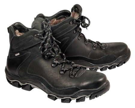 Winter sports style men's boots for young people. Natural leather and fur. Heavy-duty cold-resistant outsole photo