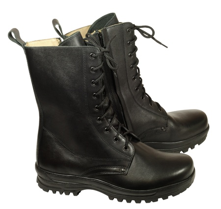 Statutory army high boots made of leather chrome tanning Stock Photo
